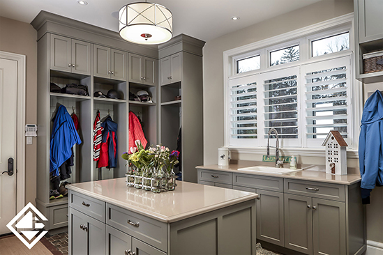 Family Mudroom with Custom Cabinetry