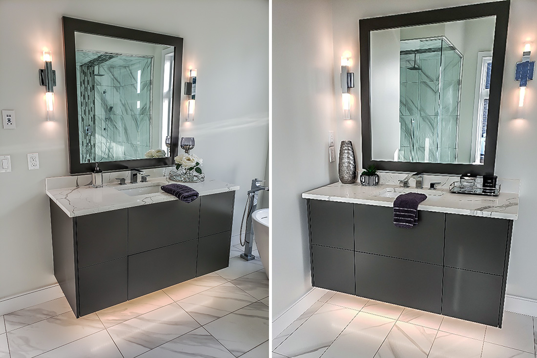 Two vanities for Carriageview Construction home