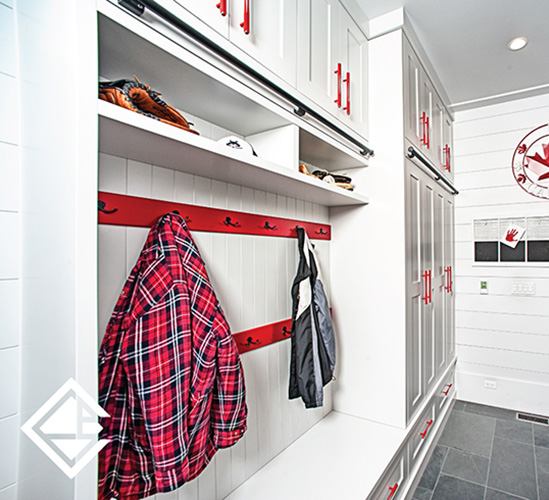 Fun Family Mudroom - Single Wall