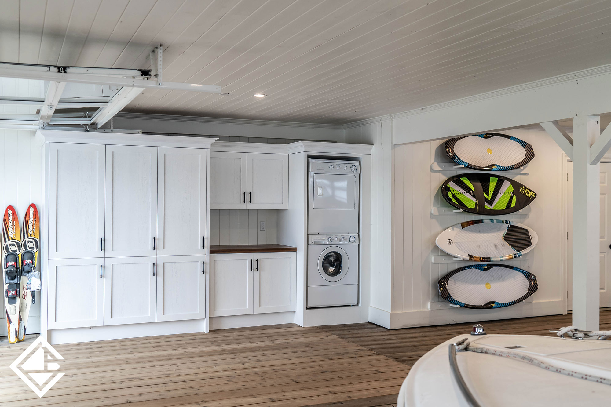 SIngle Wall Boathouse Cabinetry with Roll-Up Slip Door